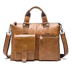 Сумка-портфель из натуральной кожи. Оливковый. 02-260-2