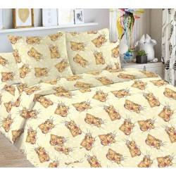 Детский комплект постельного белья Мишки на бежевом. 1,5 спальный, Бязь