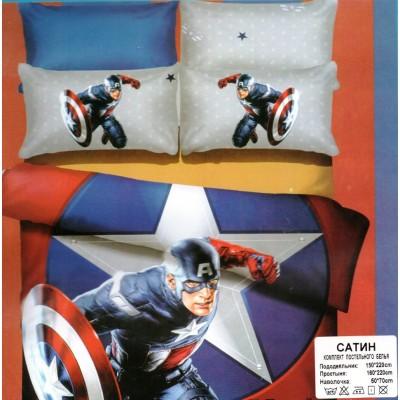Детское постельное белье Капитан Америка. Сатин.