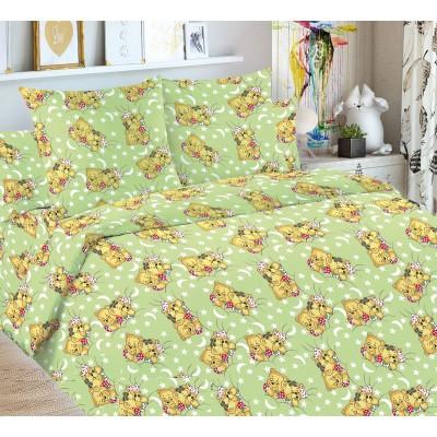 Детский комплект постельного белья Мишки на зеленом. 1,5 спальный, Бязь